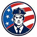 American Policeman Security Guard Retro by Aloysius Patrimonio