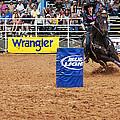 American Rodeo Female Barrel Racer White Star Horse I by Sally Rockefeller