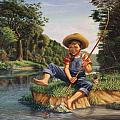 Americana - Country Boy Fishing In River Landscape - Square Format Image by Walt Curlee