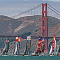 Americas Cup Catamarans At The Golden Gate by Kate Brown