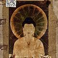 Amida Buddha Postcard Collage by Carol Leigh