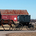 Amish Buggy And Star Barn by David Arment