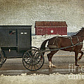 Amish Horse And Buggy And The Star Barn by David Arment