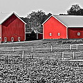 Amish Red Barn And Farm by Frozen in Time Fine Art Photography