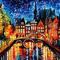 Amsterdam-canal - Palette Knife Oil Painting On Canvas By Leonid Afremov by Leonid Afremov