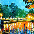Amsterdam-early Morning - Palette Knife Oil Painting On Canvas By Leonid Afremov by Leonid Afremov