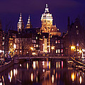 Amsterdam In The Netherlands By Night by Nisangha Ji