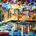 Amsterdam's Harbor - Palette Knife Oil Painting On Canvas By Leonid Afremov by Leonid Afremov