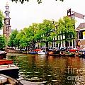 Amsterdams Westerkerk From The Canal  by John Malone