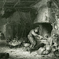An Alchemist At Work, While  His Wife by Mary Evans Picture Library