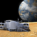 An Artists Depiction Of A Lunar Base by Marc Ward