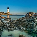 An Early Moon Over Fort Pickering Light Salem Ma by Bryan Xavier