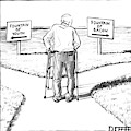 An Elderly Man Is Seen Standing Next To Two Arrow by Matthew Diffee