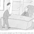 An Employee Brings His Boss A Piece Of Paper by Peter C. Vey