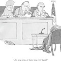 An Empty Suit Sits On A Chair In Court by Gahan Wilson