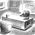 An Executive Sits At His Desk And An Employee's by Frank Cotham