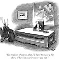 An Executive Sitting At A Desk Is Speaking by Frank Cotham
