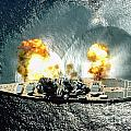 An Overhead View Of The Battleship Uss Iowa Bb61 Firing All 15 Of Its Guns by Paul Fearn
