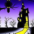 An Owl Some Cats And A Spooky House by Peter Stevenson