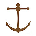 Anchor In Brown And White by Jackie Farnsworth