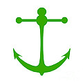Anchor In Green And White by Jackie Farnsworth