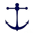 Anchor In Navy And White by Jackie Farnsworth