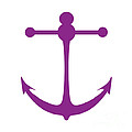 Anchor In Purple And White by Jackie Farnsworth