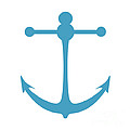 Anchor In Turquoise And White by Jackie Farnsworth