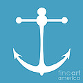 Anchor In White And Turquoise Blue by Jackie Farnsworth