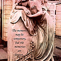 Angel Art - Memorial Angel Weeping Sorrow At Grave With Inspirational Message - Memories Are Forever by Kathy Fornal