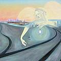 Angel Bringing Light To Meditating Woman At The Train Tracks by Asha Carolyn Young