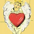 Angel Red Heart by Go Van Kampen