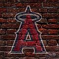 Angels Baseball Graffiti On Brick  by Movie Poster Prints
