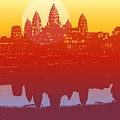 Angkor Wat In Sunset Vector - by Fat fa tin