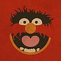 Animal Muppet Vintage Minimalistic Illustration On Worn Distressed Canvas Series No 008 by Design Turnpike