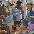 Animals On A Tube Train Subway Commute To Work by Martin Davey