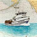 Ann Kathleen Crab Fishing Boat Nautical Chart Map Art by Cathy Peek