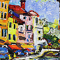 Annecy France Canal And Bistros Impressionism Knife Oil Painting by Ginette Callaway