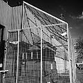 anti rpg cage surrounding observation sanger at North Queen Street PSNI police station Belfast North by Joe Fox
