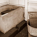 Antiquated Bathtub Washboard And Laundry Tub In Sepia by Mary Deal