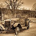 Antique Car At Service Station In Sepia by Douglas Barnett