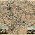 Antique Civil War Map Of Richmond And Petersburg Virginia By William C. Hughes - Circa 1864 by Blue Monocle