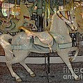Antique Dentzel Menagerie Carousel Horse Colored Pencil Effect by Rose Santuci-Sofranko