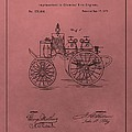 Antique Fire Engine Patent On Red by Dan Sproul