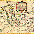 Antique French Map Of The Great Lakes 1755 by Mountain Dreams