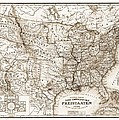 Antique Map 1853 United States Of America by Dan Sproul