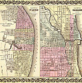 Antique Map Of Chicago And St Louis 1855 by Mountain Dreams