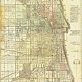 Antique Map Of Chicago by Celestial Images