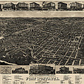 Antique Map Of Fort Worth Texas By H. Wellge - 1886 by Blue Monocle