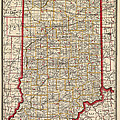 Antique Map Of Indiana By George Franklin Cram - 1888 by Blue Monocle